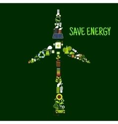 Wind turbine symbol with saving energy flat icons vector