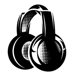 With headphones on white background vector