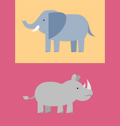 Zoo wild animals flat icon set vector