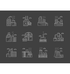 Plants and factories white line icons set vector