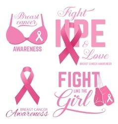 Set of Breast cancer awareness pink card vector image