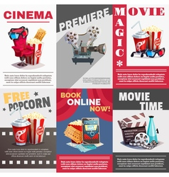 Set of cinema posters with premiere advertising vector