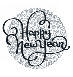 Happy new year black and white lettering vector