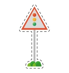Sign road light traffic white background cut line vector