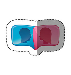 sticker colorful relief rectangular speech with vector image