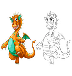 Doodle drawing for dragon with wings vector