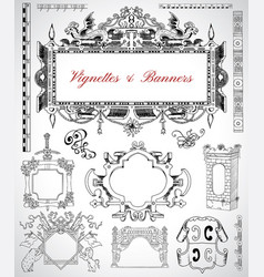set with vintage frames and borders vector image