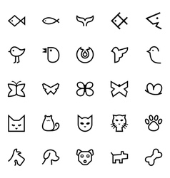 Fishes birds butterflies cats and dogs icons vector image