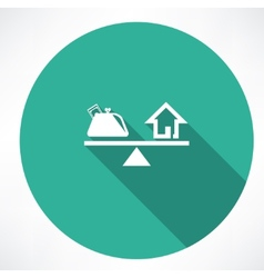 Scales with money and house icon vector