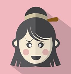 Traditional chinese womans face icon vector