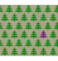 Seamless knitted pattern with trees vector
