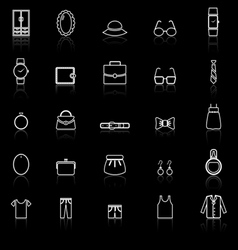 Dressing line icons with reflect on black vector