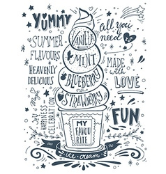 Hand drawn print with ice cream and lettering vector