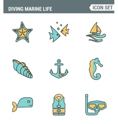 Icons line set premium quality of diving marine vector