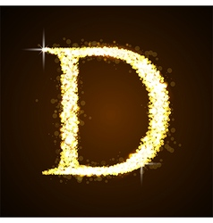 Alphabets d of gold glittering stars vector