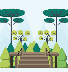 beautiful forest view from the wooden house vector image