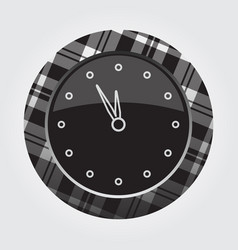 Button white black tartan last minute clock icon vector