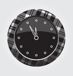 Button white black tartan last minute clock icon vector