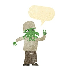 Cartoon cool alien with speech bubble vector