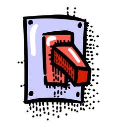 Cartoon image of shutdown icon on off button vector