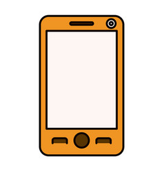 color sketch silhouette modern smartphone tech vector image