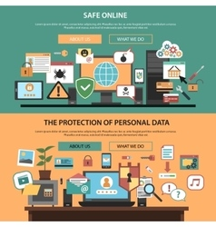 Computer safety horizontal banners set flat vector image vector image