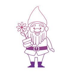 cute gnome with flower plant character vector image vector image