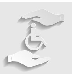Disabled sign paper style icon vector