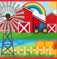 Farm scene with rainbow in sky vector