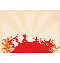 Fighting Samurai silhouette on abstract Asian vector image vector image