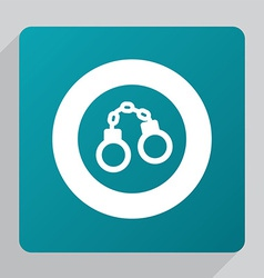 flat handcuffs icon vector image