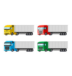 four different color trucks for delivery goods vector image vector image