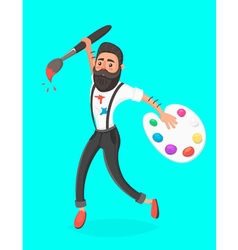 Hipster men with paint brush and palette jumping vector