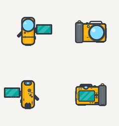 Line icon photo video camera vector