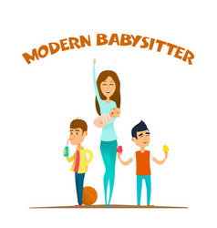 modern stylish babysitter vector image vector image