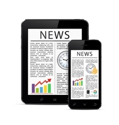 News articles on digital devices vector image vector image