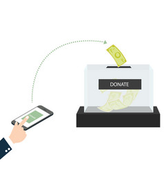 online mobile donation fundraiser hands holding vector image
