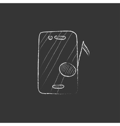 Phone with musical note drawn in chalk icon vector