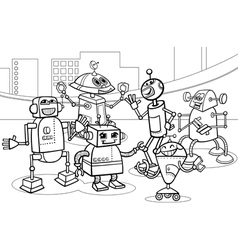 robots group cartoon coloring page vector image
