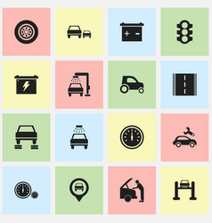 set of 16 editable transport icons includes vector image