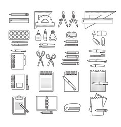 Set of hand drawn black line stationer vector