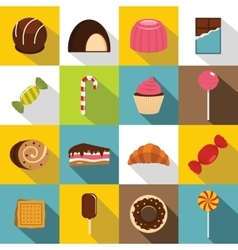 Sweets and candies icons set flat style vector image