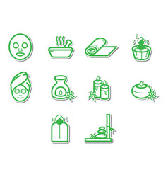Thin line spa icon set vector