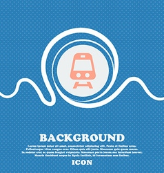 Train sign icon Blue and white abstract background vector image
