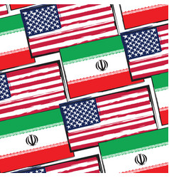 Usa and iran flags or banner vector