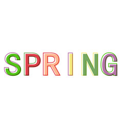word spring minimalistic style colorful letters vector image