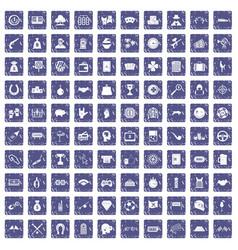 100 gambling icons set grunge sapphire vector