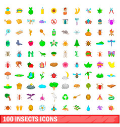 100 insects icons set cartoon style vector image