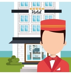 Bellboy service hotel isolated icon vector