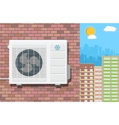 Air conditioning unit on wall of brick building vector